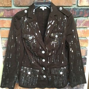 Cache sequined brown jacket 6